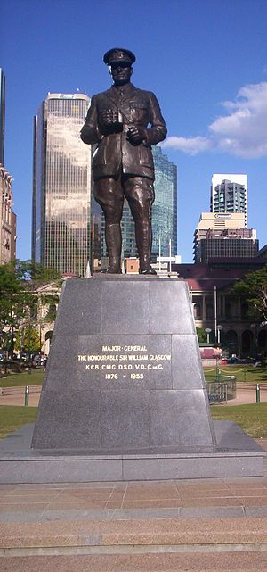 William Glasgow (general) - Statue of the Major-General at Post Office Square, Brisbane. (The statue is facing ANZAC Square.)
