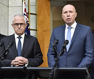 2018 Liberal Party of Australia leadership spills - Turnbull (left) and Dutton announcing the creation of the new Home Affairs portfolio in July 2017