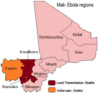Ebola virus disease in Mali - Mali regions with Ebola cases (Kayes, Bamako)