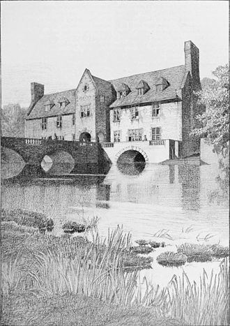Charles Edward Mallows - House with a bridge approach. An imaginary project designed by C. E. Mallows and F. L . Griggs, drawn by F. L. Griggs.