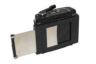 Dark slide (photography) - A dark slide on the back of a Mamiya RB67