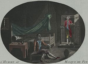 Man in the Iron Mask - L'Homme au Masque de Fer (The Man in the Iron Mask). Anonymous print (etching and mezzotint, hand-colored) from 1789.