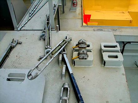 Twist-locks and lashing rods (pictured) are widely used to secure containers aboard ships. - Container ship