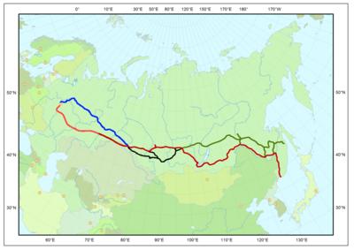 红色:西伯利亚铁路;