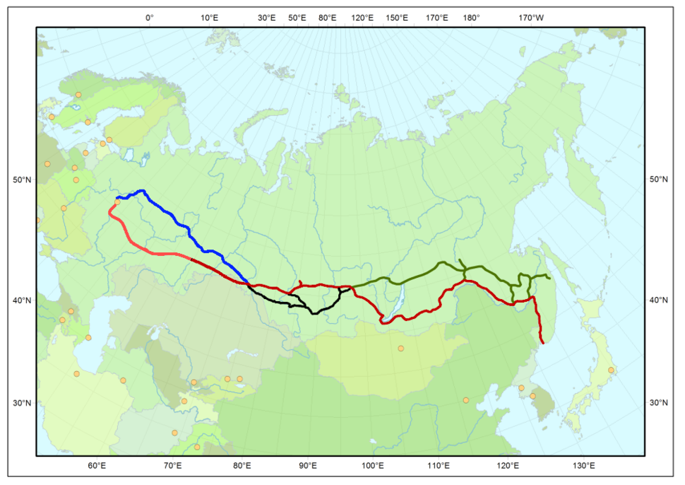 Map Trans-Siberian railway