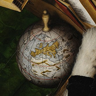 The Ambassadors (Holbein) - The Ambassador's globe (detail)