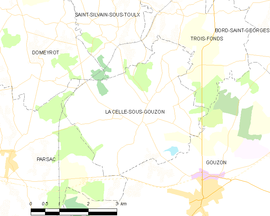 Mapa obce La Celle-sous-Gouzon