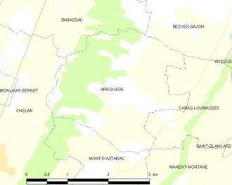 Arrouède - Arrouède and its surrounding communes