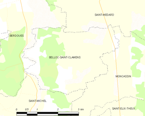 Belloc-Saint-Clamens - Belloc-Saint-Clamens and its surrounding communes