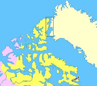 Nares Strait - Image: Map indicating Nares Strait