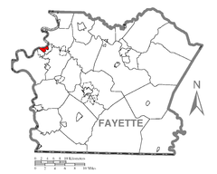 Map of Brownsville, Fayette County, Pennsylvania Highlighted.png
