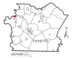 Location of Brownsville in Fayette County