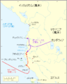 Map of Caesar's campaign in the Roman province of Macedonia to the city of Apollonia (Japanese).png
