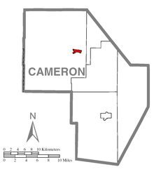 Map of Emporium, Cameron County, Pennsylvania Highlighted.png