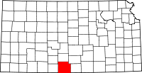 Map of Kansas highlighting Barber County