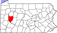 Map of Pennsylvania highlighting Armstrong County.svg