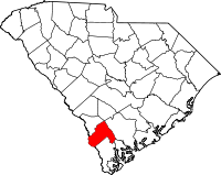 Map of South Carolina highlighting Hampton County