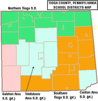 Tioga County, Pennsylvania - Map of Tioga County, Pennsylvania Public School Districts