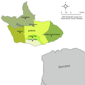 Rincón de Ademuz - Map of municipalities of the Rincón de Ademuz