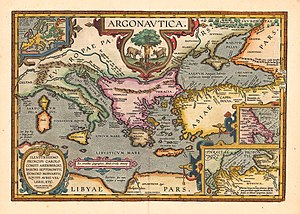 Argonautica - Map interpreting the voyage according to Apollonius Rhodius' Argonautica, reprint of Ortelius' Parergon, 1624.