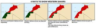 Sahrawi Arab Democratic Republic - Ways to show Western Sahara in maps