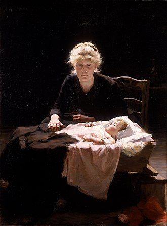 Disease in fiction - Victor Hugo's character Fantine (in his 1862 novel Les Miserables) with consumption in an 1886 painting by Margaret Bernadine Hall