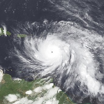 Maria making landfall as a Category 5 hurricane on Dominica on September 19