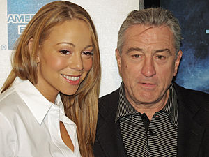 Mariah Carey and Robert De Niro at the premier...