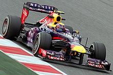 Webber testing his Red Bull RB9 car at the Circuit de Catalunya in Spain