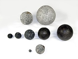 Round shot - Various types of round shot made from stone, iron and lead found on board the 16th century carrack Mary Rose.