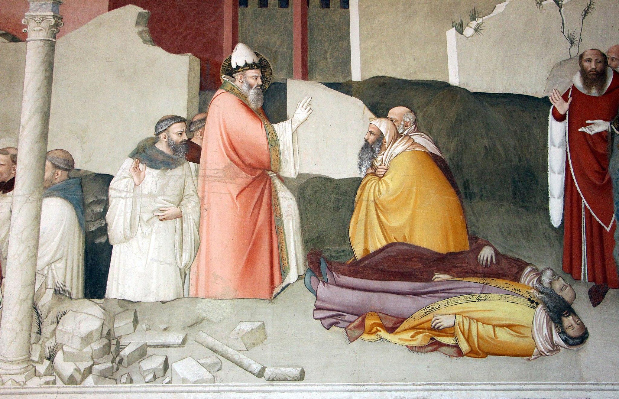Maso di Banco, Miracolo del drago, c. 1335 (Miracolo del santo che chiude la fauci al drago e resuscita due maghi uccisi dall'alito del mostro, fresco, Cappella di Bardi di Vernio, Santa Croce, Firenze