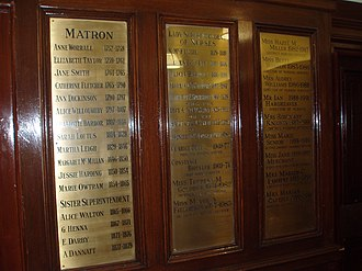 Matron - Plaques listing Matrons of Manchester Royal Infirmary