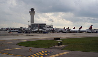 Detroit Metropolitan Airport - Exterior of terminal as seen from a taxiing aircraft.