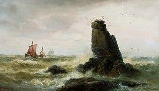 Krajobraz morski z żaglówkami