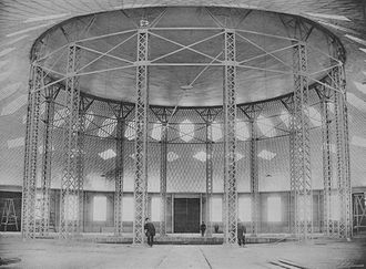 Tensile structure - The world's first steel membrane roof and lattice steel shell in the Shukhov Rotunda, Russia, 1895