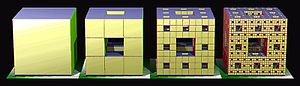 Menger sponge - Image 2: An illustration of the iterative construction of a Menger sponge up to M3, the third iteration.