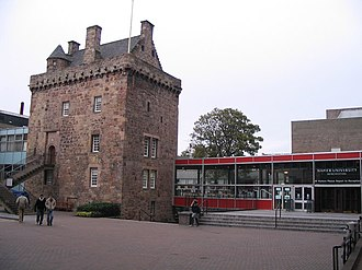 Clan Napier - Merchiston Tower, historic seat of the chiefs of Clan Napier, in the centre of the campus of Edinburgh Napier University.