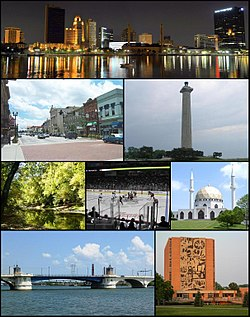 Images, from top left to right: Toledo Skyline, Downtown Bowling Green in 2003, Put-in-Bay, Goll Woods Nature Preserve in Fulton County, Toledo Walleye game, Islamic Center of Greater Toledo in Perrysburg Township, MLK Bridge in Toledo, and the Jerome Library in Bowling Green.