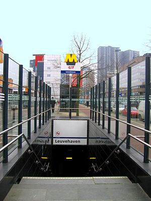 Leuvehaven metro station - One of the station entrances