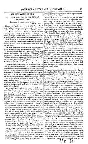 "Metzengerstein - ""Metzengerstein"", as republished in the Southern Literary Messenger in January 1836"