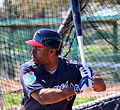 Michael Bourn takes live batting practice (25160630242).jpg