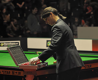 Michaela Tabb - Tabb puts the balls back into a case. German Masters Final 2012.