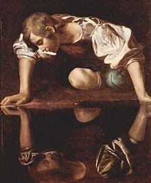Das Bild zeigt Narziss, Ölgemälde von Caravaggio, 1594–1596, Galleria Nazionale d'Arte Antica, Rom