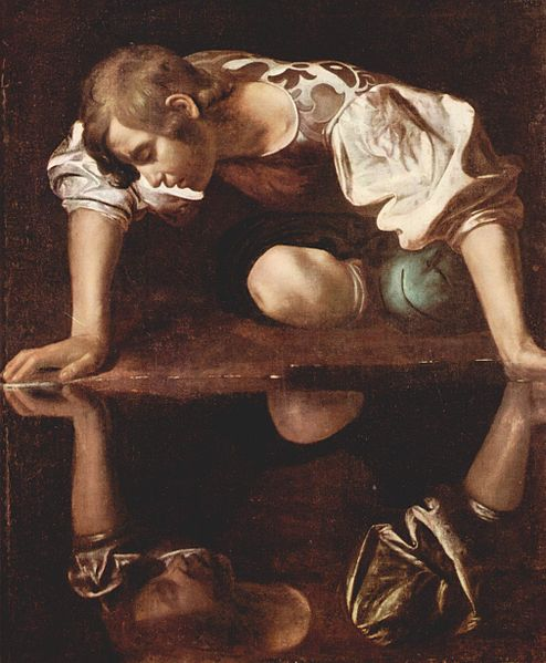 Caravaggio's Narcissus, 1594-1596, Galleria Nazionale d'Arte Antica, Courtesy of wikipedia.org and The Yorck Project: 10.000 Meisterwerke der Malerei. DVD-ROM, 2002. ISBN 3936122202. Distributed by DIRECTMEDIA Publishing GmbH.