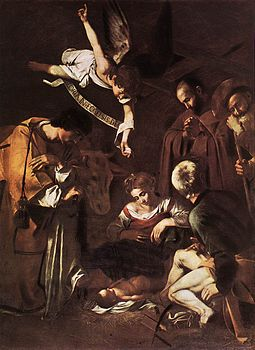 Michelangelo Merisi da Caravaggio - Nativity with St Francis and St Lawrence - WGA04193.jpg