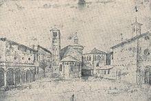 Anonimo olandese del XVI secolo, il vecchio complesso di San Vittore al Corpo, col monastero e la zona absidale della chiesa.