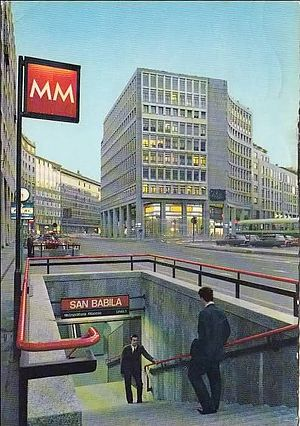 Milan Metro Line 1 - The San Babila station's poster during the 1960s.