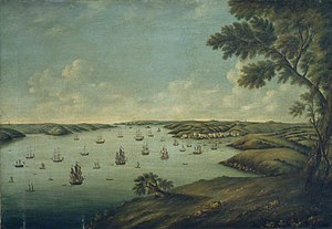 Milford Haven - Milford Haven by Attwood, looking west, 1776