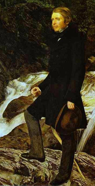 1850s in Western fashion - John Ruskin wears a dark frock coat over lighter trousers and low-heeled shoes.  He carries a soft-crowned brown hat.  Detail of a portrait by John Everett Millais, 1853–54.