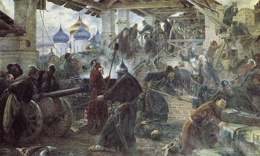 Russian Orthodox monks defended the Trinity monastery against Polish troops during the Time of Troubles (Sergey Miloradovich). Miloradovichdefense.jpg